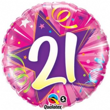 21st Birthday Shining Star Hot Pink Foil Balloon 18""